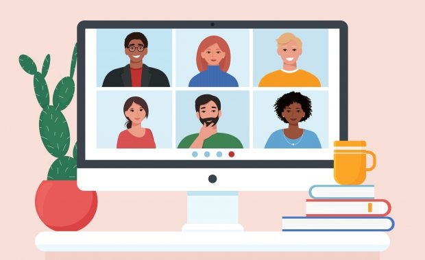Video conference with people group, friends meeting. Computer screen. Vector illustration in flat style